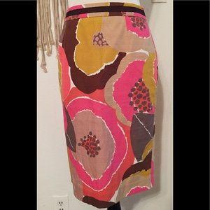 Gorgeous Boden pink brown floral midi cotton skirt